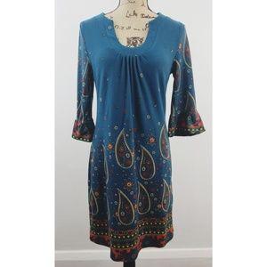 Aryeh size medium blue Boho paisley dress